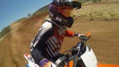 Motocross Rider Desert Track Orbit Camera Stock Footage