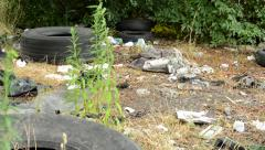 Stock Video Footage of view of the mess in the countryside - tyres paper bottles lie on the ground