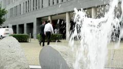 View of the large business building in the center of the city - fontain before  Stock Footage