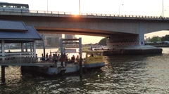 River taxi boat in Bangkok Stock Footage