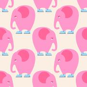 Pink Elephant seamless pattern. Background of circus animal with trunk. Fanta - stock illustration