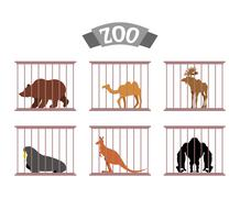Zoo. Collection of wild animals in cages. Beasts behind bars. Bear and moose  - stock illustration
