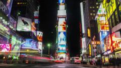 Time lapse of Times Square at night. Zoom in.Manhattan, New York. United States. Stock Footage