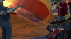 Hot Air Balloon Being Inflated, CU With Flame - stock footage