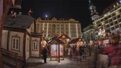 Striezelmarkt Dresden Christmas Market Timelapse Germany 05 Stock Footage