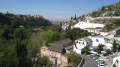 View of the historic Sacromonte district of Granada, Spain Stock Footage