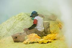 Stock Photo of Sulfur miner