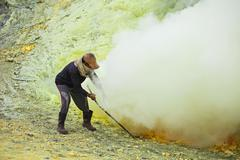 Sulfur miner - stock photo