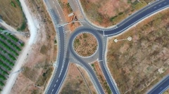 Aerial surveillance of the road junction Stock Footage