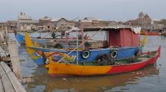 Colorful fisherboats in fisher harbour,Semarang,Java,Indonesia Stock Footage