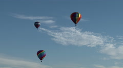 Three Hot Air Balloons, Low Angle Stock Footage