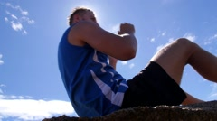 Healthy Lifestyle Athlete Male Making Abdominal Crunches Stock Footage