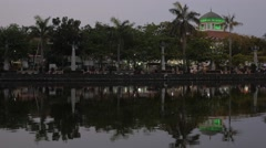 Train station with lake in evening,Semarang,Java,Indonesia Stock Footage