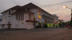 Old colonial building in kota in evening,Semarang,Java,Indonesia Stock Footage