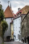 Streets And Old Town Architecture Estonian Capital, Tallinn, Estonia Stock Photos