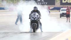 Drag Strip Modified Bike Burnout Stock Footage