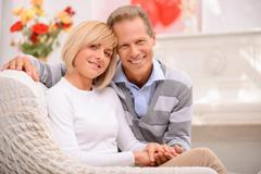 Agreeable couple celebrating St Valentine day Stock Photos