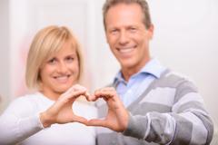 Agreeable couple celebrating St Valentine day - stock photo