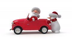 3d Santa Claus by car - stock footage