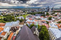 View of the old town with dramatic clouds. Tallinn, Estonia, Europe Stock Photos