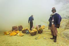 Stock Photo of Sulfur miners