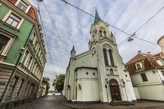 Morning street in medieval town of old Riga city, Latvia. Walking through med Kuvituskuvat