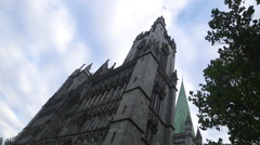 Nidaros Cathedral church Trondheim Norway front view close up Stock Footage