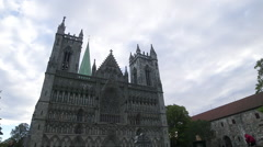Nidaros Cathedral church Trondheim Norway front view low angle Stock Footage
