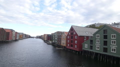 Old part of Trondheim Norway river Stock Footage