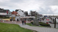Downtown and port of Buesum, Germany Stock Footage