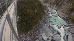 Looking Down On Hooker River From Suspension Bridge, Pan Right Stock Footage