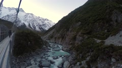 Viewing Hooker River From Bridge, Pan Down Stock Footage
