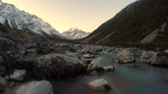 View of Hooker River With Magnificent Mt Cook In Background Stock Footage