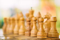Old Chess Standing On Chessboard Stock Photos