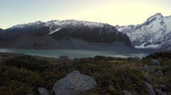 Viewing Lake Mueller And Mount Sefton From Hooker Valley Track, Pan Right Stock Footage