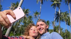 Friends Taking Selfie Photos with Smartphone Outdoors - stock footage