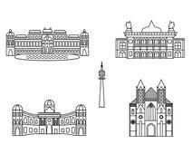 Vienna black silhouette city skyline buildings vector icon Stock Illustration
