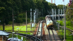 Leaving freight train composition. Shot from above Stock Footage