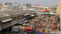 Vegetable market with skyline,Semarang,Java,Indonesia Stock Footage
