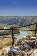 Curves of Uvac river canyon - stock photo