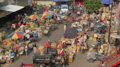 Busy colorful vegetable market,Semarang,Java,Indonesia Stock Footage