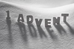 White Word 1 Advent Means Christmas Time On Snow - stock photo