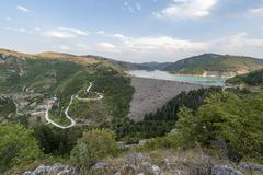 Uvac Hydro Dam and reservoir with Power Station Stock Photos
