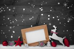 Gray Christmas Card With Red Decoration, Copy Space, Snowfalkes Stock Photos