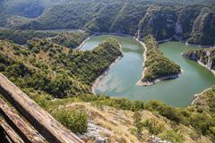 Uvac river canyon from hill viewpoint Molitva - stock photo