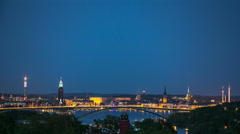 View of Stockholm from west. Stock Footage