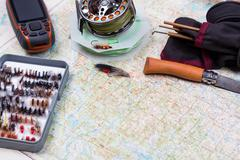 intend to fishing journey with fishing tackles - stock photo