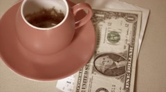 Vintage atyle clip of Paying the bill for coffee Stock Footage