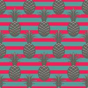 Pineapple seamless pattern on stripe background - stock illustration