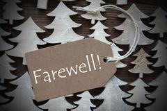 Brown Christmas Label With Farewell Stock Photos